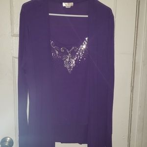 Purple Long Sleeve Top Silver Design